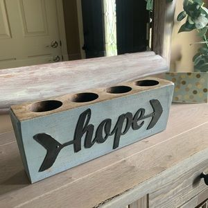 Wooden hope candle planter